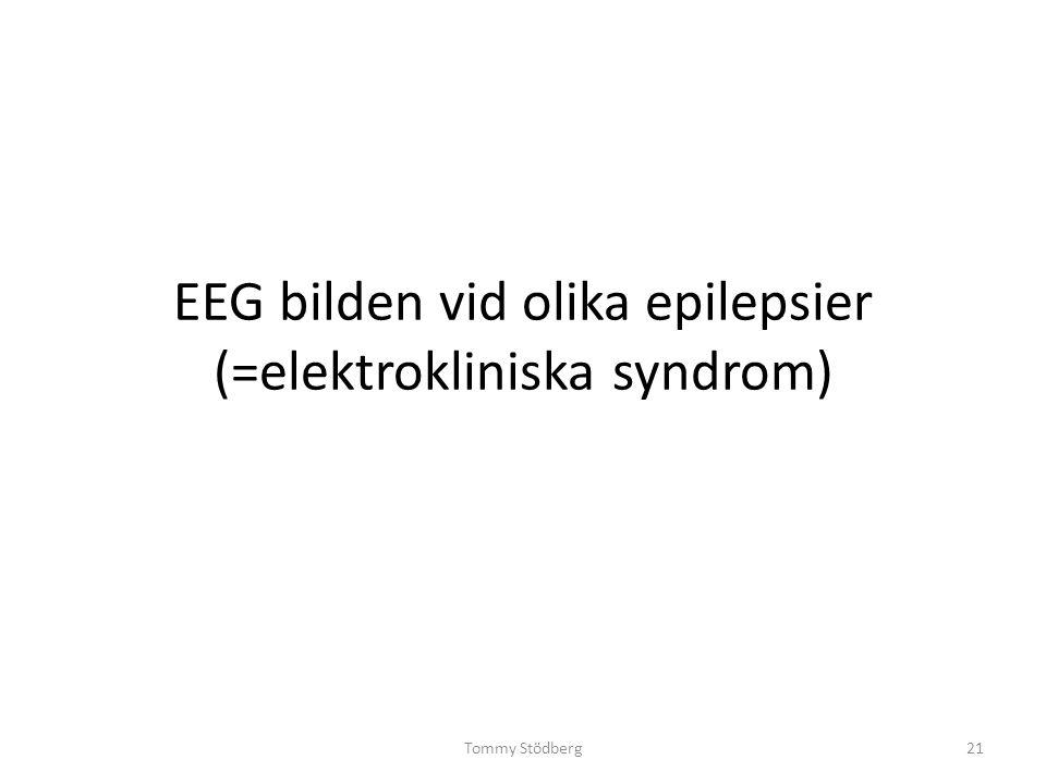 EEG bilden vid olika epilepsier (=elektrokliniska syndrom) Tommy Stödberg21