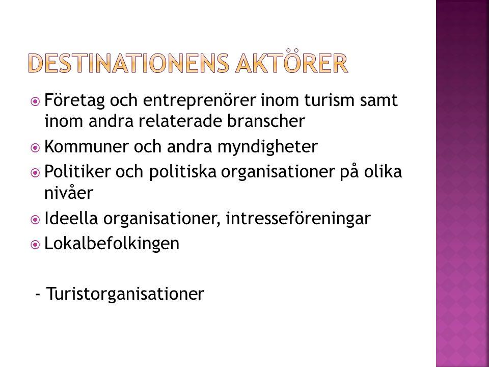  Företag och entreprenörer inom turism samt inom andra relaterade branscher  Kommuner och andra myndigheter  Politiker och politiska organisationer