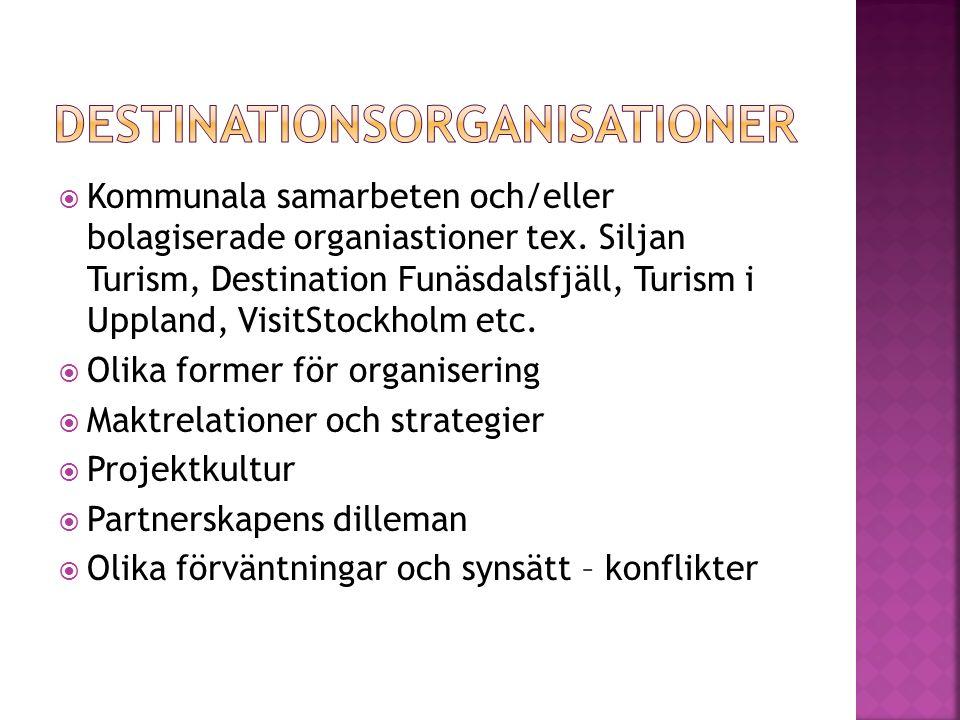  Kommunala samarbeten och/eller bolagiserade organiastioner tex. Siljan Turism, Destination Funäsdalsfjäll, Turism i Uppland, VisitStockholm etc.  O