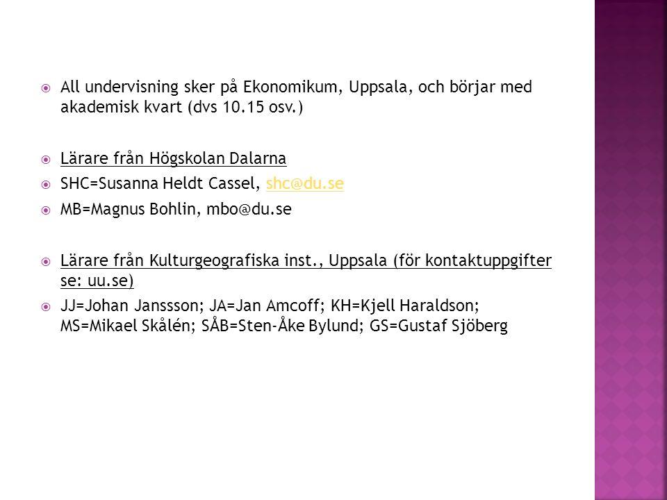  All undervisning sker på Ekonomikum, Uppsala, och börjar med akademisk kvart (dvs 10.15 osv.)  Lärare från Högskolan Dalarna  SHC=Susanna Heldt Ca