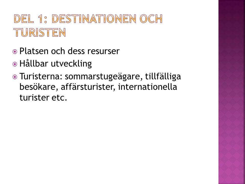  Platsen och dess resurser  Hållbar utveckling  Turisterna: sommarstugeägare, tillfälliga besökare, affärsturister, internationella turister etc.