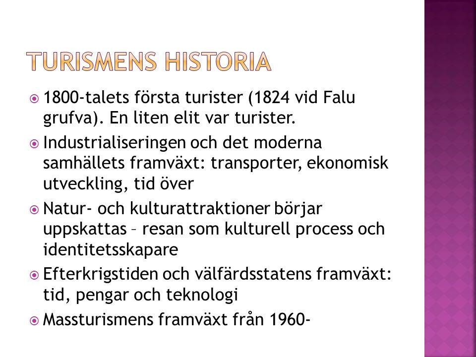  1800-talets första turister (1824 vid Falu grufva). En liten elit var turister.  Industrialiseringen och det moderna samhällets framväxt: transport