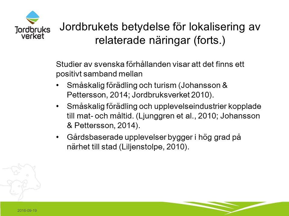 Jordbrukets betydelse för lokalisering av relaterade näringar (forts.) Studier av svenska förhållanden visar att det finns ett positivt samband mellan Småskalig förädling och turism (Johansson & Pettersson, 2014; Jordbruksverket 2010).