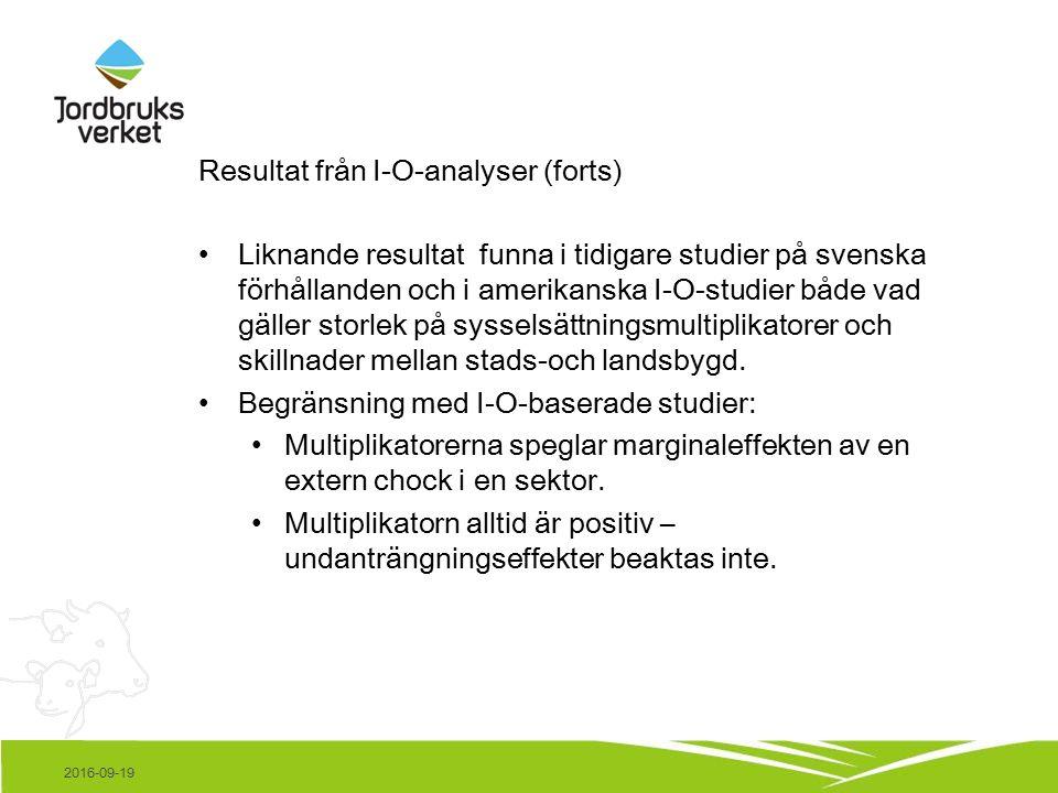 Resultat från I-O-analyser (forts) Liknande resultat funna i tidigare studier på svenska förhållanden och i amerikanska I-O-studier både vad gäller storlek på sysselsättningsmultiplikatorer och skillnader mellan stads-och landsbygd.