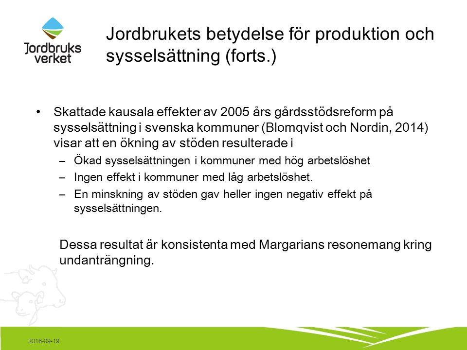 2016-09-19 Jordbrukets betydelse för produktion och sysselsättning (forts.) Skattade kausala effekter av 2005 års gårdsstödsreform på sysselsättning i svenska kommuner (Blomqvist och Nordin, 2014) visar att en ökning av stöden resulterade i –Ökad sysselsättningen i kommuner med hög arbetslöshet –Ingen effekt i kommuner med låg arbetslöshet.