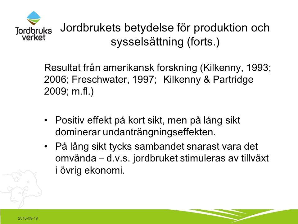 Jordbrukets betydelse för produktion och sysselsättning (forts.) Resultat från amerikansk forskning (Kilkenny, 1993; 2006; Freschwater, 1997; Kilkenny & Partridge 2009; m.fl.) Positiv effekt på kort sikt, men på lång sikt dominerar undanträngningseffekten.
