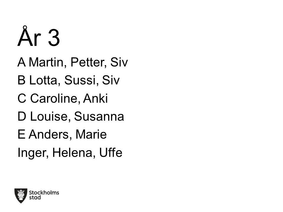 År 3 A Martin, Petter, Siv B Lotta, Sussi, Siv C Caroline, Anki D Louise, Susanna E Anders, Marie Inger, Helena, Uffe