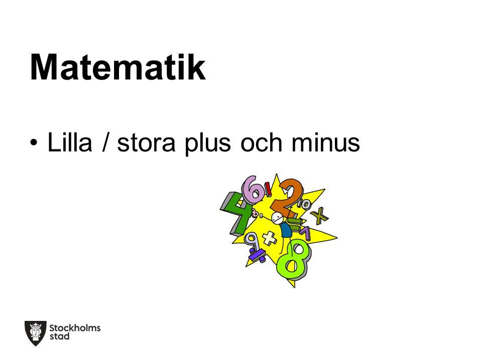 Matematik Lilla / stora plus och minus