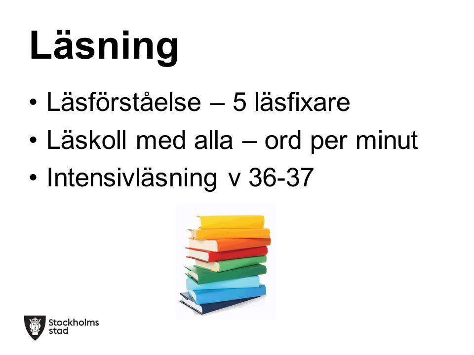 Läsning Läsförståelse – 5 läsfixare Läskoll med alla – ord per minut Intensivläsning v 36-37