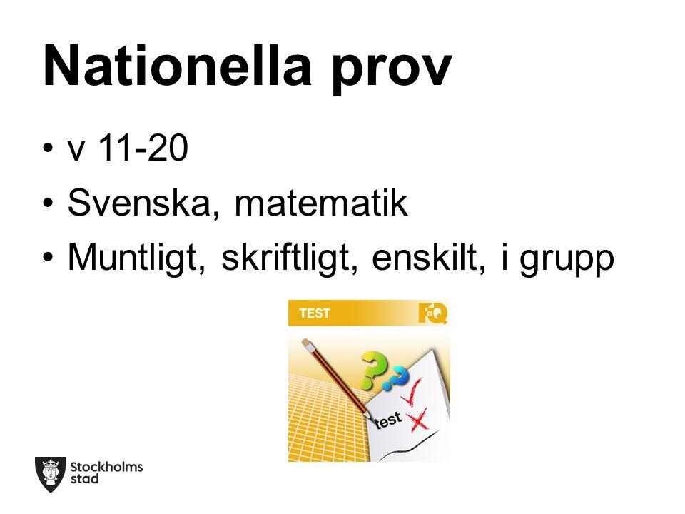 Nationella prov v 11-20 Svenska, matematik Muntligt, skriftligt, enskilt, i grupp