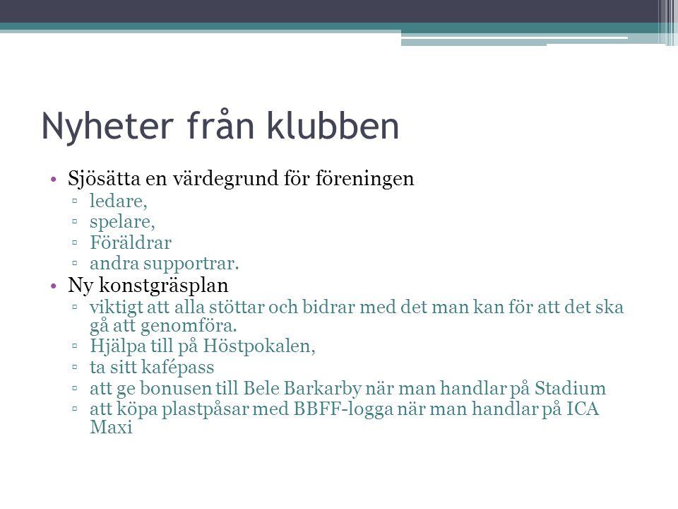 Nyheter från klubben Sjösätta en värdegrund för föreningen ▫ledare, ▫spelare, ▫Föräldrar ▫andra supportrar.