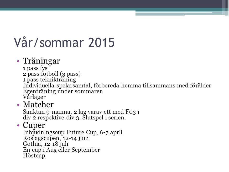 Vår/sommar 2015 Träningar 1 pass fys 2 pass fotboll (3 pass) 1 pass teknikträning Individuella spelarsamtal, förbereda hemma tillsammans med förälder Egenträning under sommaren Vårläger Matcher Sanktan 9-manna, 2 lag varav ett med F03 i div 2 respektive div 3.