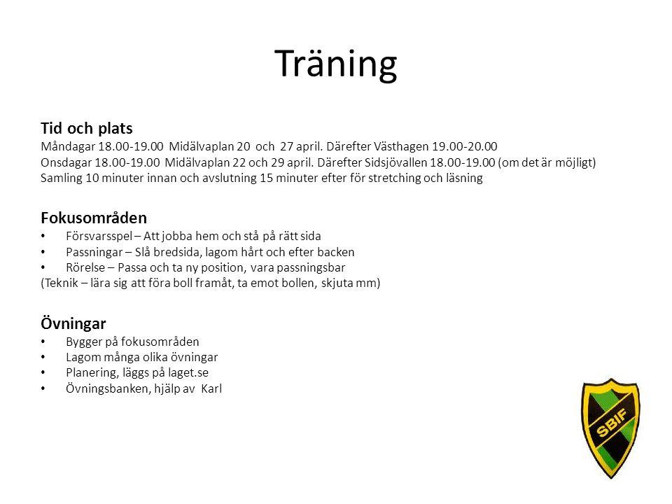 Träning Tid och plats Måndagar 18.00-19.00 Midälvaplan 20 och 27 april. Därefter Västhagen 19.00-20.00 Onsdagar 18.00-19.00 Midälvaplan 22 och 29 apri