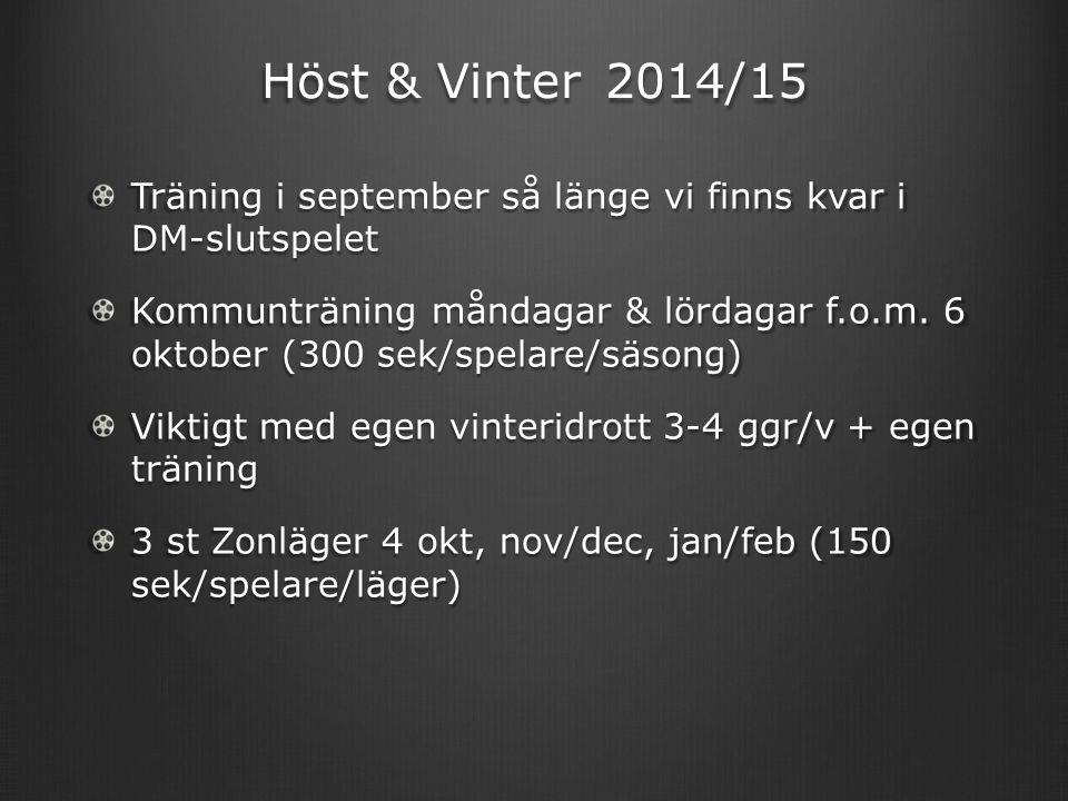Höst & Vinter 2014/15 Träning i september så länge vi finns kvar i DM-slutspelet Kommunträning måndagar & lördagar f.o.m. 6 oktober (300 sek/spelare/s