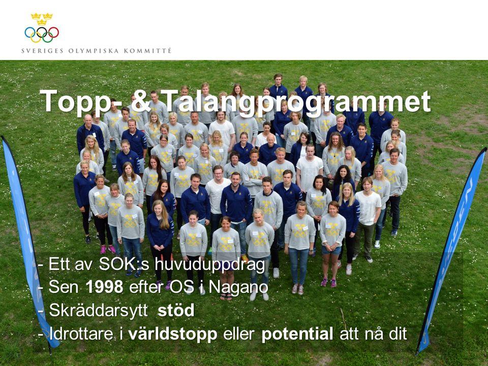 Topp- & Talangprogrammet - Ett av SOK:s huvuduppdrag - Sen 1998 efter OS i Nagano - Skräddarsytt stöd - Idrottare i världstopp eller potential att nå