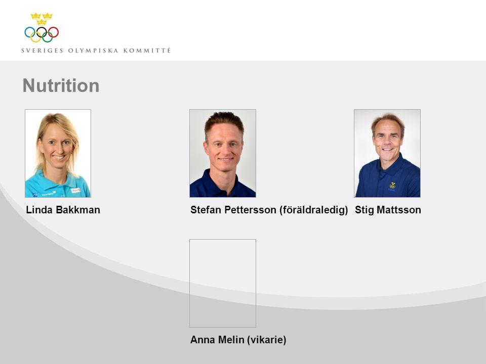 Nutrition Linda BakkmanStefan Pettersson (föräldraledig)Stig Mattsson Anna Melin (vikarie)