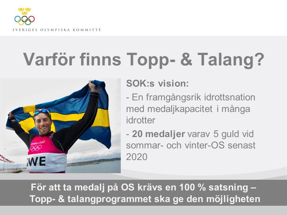 Varför finns Topp- & Talang? SOK:s vision: - En framgångsrik idrottsnation med medaljkapacitet i många idrotter - 20 medaljer varav 5 guld vid sommar-