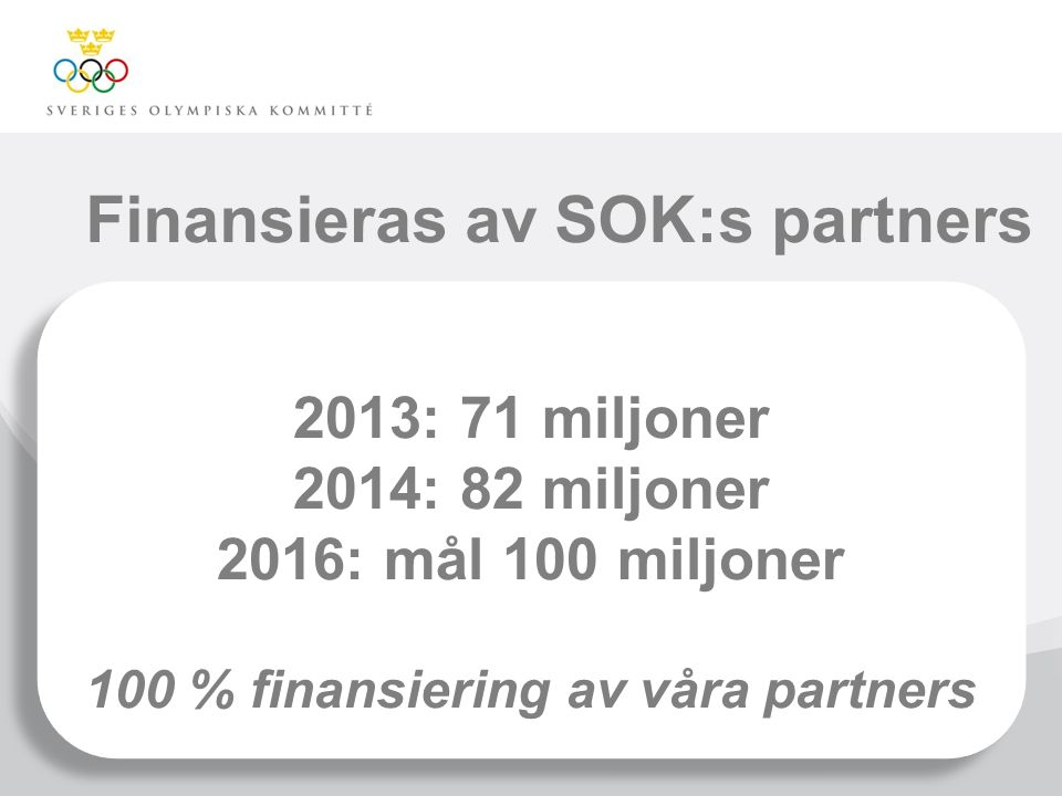 Finansieras av SOK:s partners 2013: 71 miljoner 2014: 82 miljoner 2016: mål 100 miljoner 100 % finansiering av våra partners 2013: 71 miljoner 2014: 8