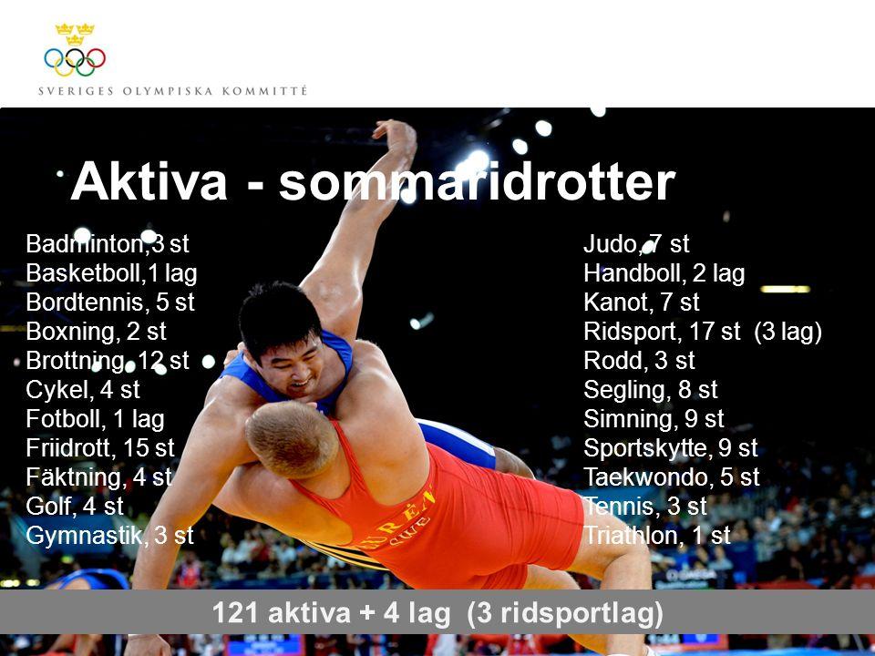 Aktiva - sommaridrotter 121 aktiva + 4 lag (3 ridsportlag) Badminton,3 st Basketboll,1 lag Bordtennis, 5 st Boxning, 2 st Brottning, 12 st Cykel, 4 st