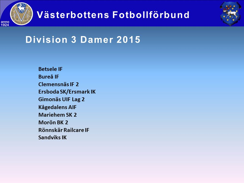 Division 3 Damer 2015 Västerbottens Fotbollförbund Betsele IF Bureå IF Clemensnäs IF 2 Ersboda SK/Ersmark IK Gimonäs UIF Lag 2 Kågedalens AIF Mariehem SK 2 Morön BK 2 Rönnskär Railcare IF Sandviks IK