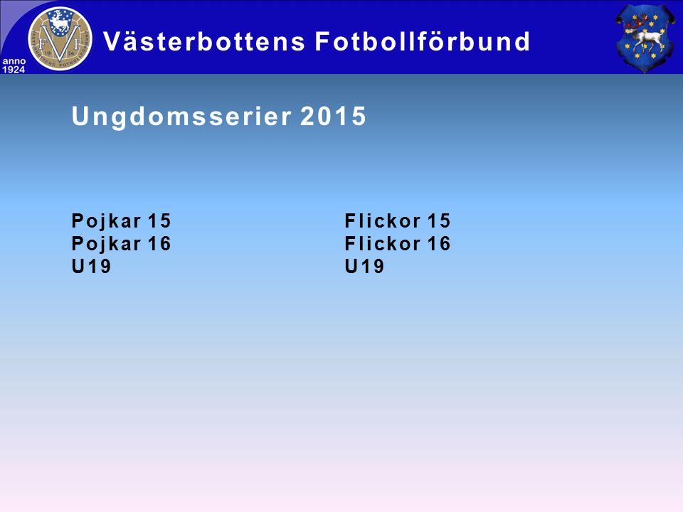 Ungdomsserier 2015 Pojkar 15Flickor 15 Pojkar 16Flickor 16U19 Västerbottens Fotbollförbund