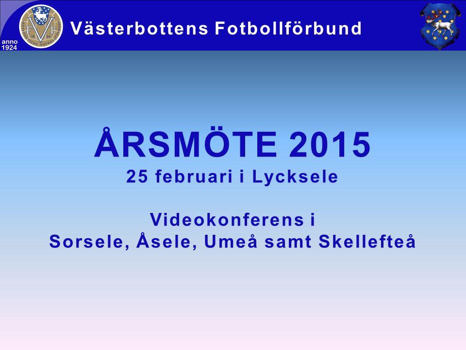 ÅRSMÖTE 2015 25 februari i Lycksele Videokonferens i Sorsele, Åsele, Umeå samt Skellefteå Västerbottens Fotbollförbund