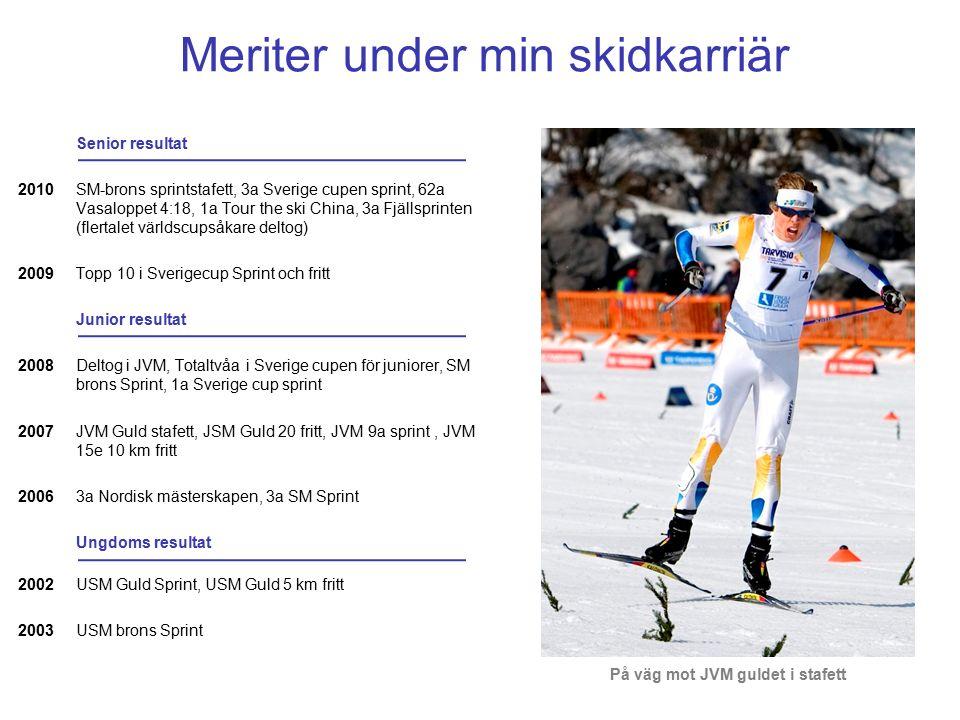 Meriter under min skidkarriär Senior resultat SM-brons sprintstafett, 3a Sverige cupen sprint, 62a Vasaloppet 4:18, 1a Tour the ski China, 3a Fjällsprinten (flertalet världscupsåkare deltog) Topp 10 i Sverigecup Sprint och fritt Junior resultat Deltog i JVM, Totaltvåa i Sverige cupen för juniorer, SM brons Sprint, 1a Sverige cup sprint JVM Guld stafett, JSM Guld 20 fritt, JVM 9a sprint, JVM 15e 10 km fritt 3a Nordisk mästerskapen, 3a SM Sprint Ungdoms resultat USM Guld Sprint, USM Guld 5 km fritt USM brons Sprint 2010 2009 2008 2007 2006 2002 2003 På väg mot JVM guldet i stafett