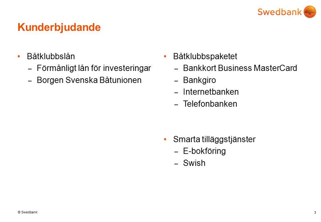 © Swedbank Båtklubbslån – Förmånligt lån för investeringar – Borgen Svenska Båtunionen 3 Båtklubbspaketet – Bankkort Business MasterCard – Bankgiro – Internetbanken – Telefonbanken Smarta tilläggstjänster – E-bokföring – Swish Kunderbjudande