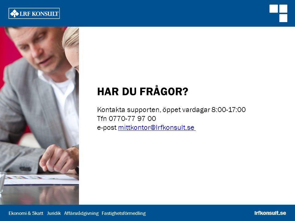 Ekonomi & Skatt Juridik Affärsrådgivning Fastighetsförmedling lrfkonsult.se HAR DU FRÅGOR.
