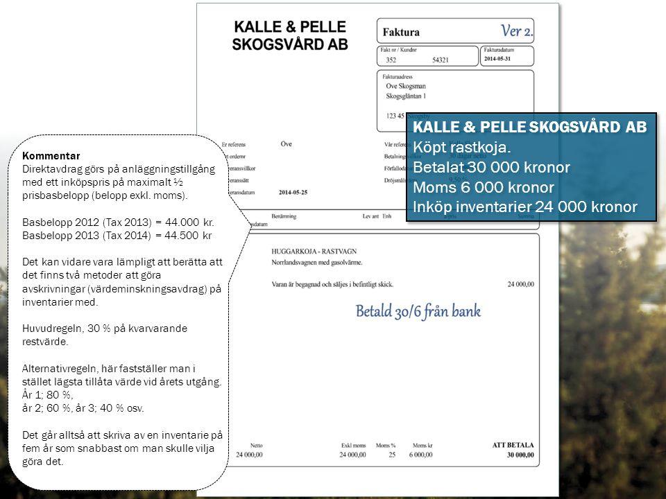 KALLE & PELLE SKOGSVÅRD AB Köpt rastkoja.