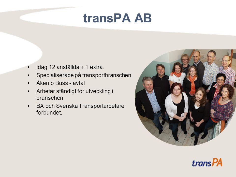 transPA AB Idag 12 anställda + 1 extra. Specialiserade på transportbranschen Åkeri o Buss - avtal Arbetar ständigt för utveckling i branschen BA och S