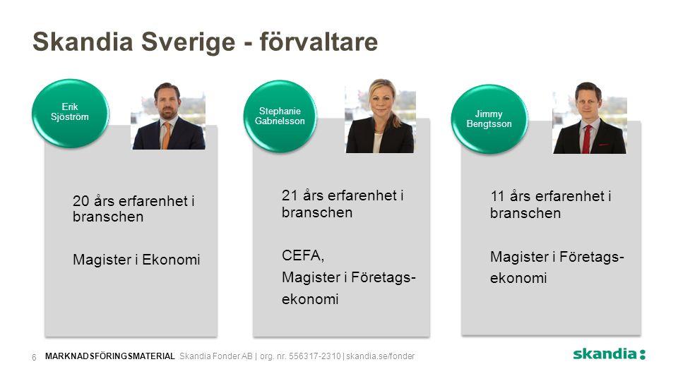 Skandia Sverige - förvaltare 20 års erfarenhet i branschen Magister i Ekonomi Erik Sjöström 11 års erfarenhet i branschen Magister i Företags- ekonomi