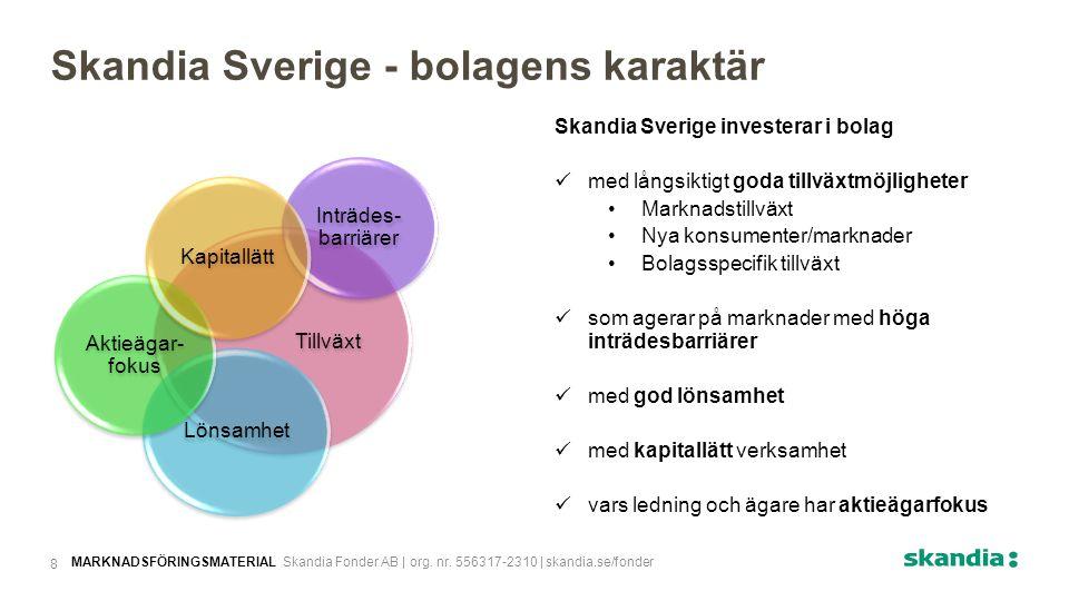 Skandia Sverige investerar i bolag med långsiktigt goda tillväxtmöjligheter Marknadstillväxt Nya konsumenter/marknader Bolagsspecifik tillväxt som agerar på marknader med höga inträdesbarriärer med god lönsamhet med kapitallätt verksamhet vars ledning och ägare har aktieägarfokus Skandia Sverige - bolagens karaktär Tillväxt Inträdes- barriärer Lönsamhet Aktieägar- fokus Kapitallätt MARKNADSFÖRINGSMATERIAL Skandia Fonder AB | org.