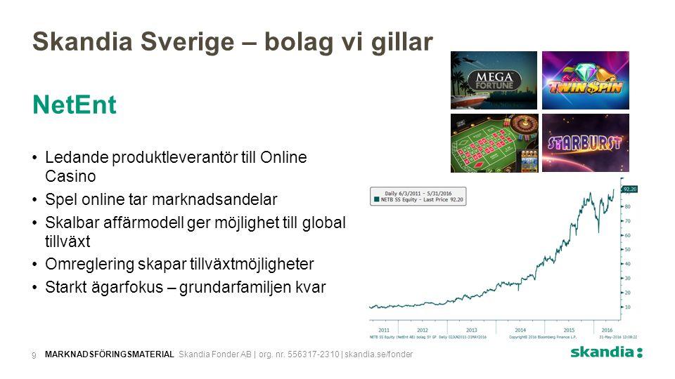 Skandia Sverige – bolag vi gillar NetEnt Ledande produktleverantör till Online Casino Spel online tar marknadsandelar Skalbar affärmodell ger möjlighet till global tillväxt Omreglering skapar tillväxtmöjligheter Starkt ägarfokus – grundarfamiljen kvar MARKNADSFÖRINGSMATERIAL Skandia Fonder AB | org.