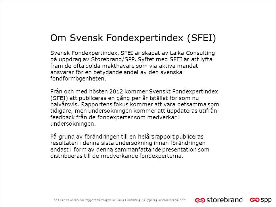 Om Svensk Fondexpertindex (SFEI) Svensk Fondexpertindex, SFEI är skapat av Laika Consulting på uppdrag av Storebrand/SPP.