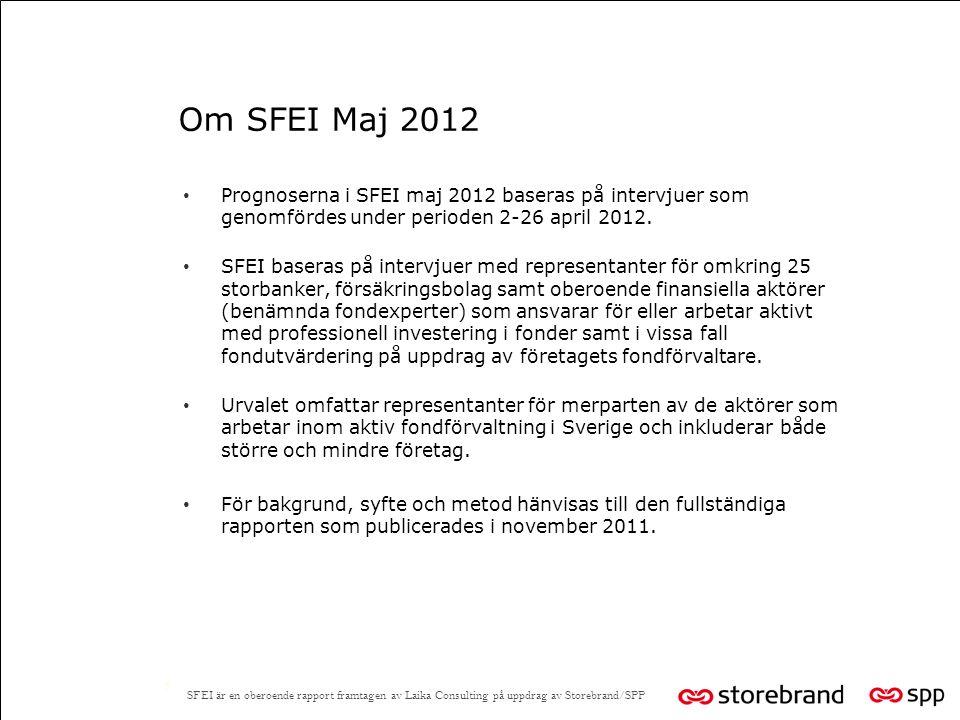 Om SFEI Maj 2012 5 Prognoserna i SFEI maj 2012 baseras på intervjuer som genomfördes under perioden 2-26 april 2012.