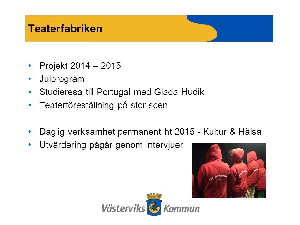 Teaterfabriken Projekt 2014 – 2015 Julprogram Studieresa till Portugal med Glada Hudik Teaterföreställning på stor scen Daglig verksamhet permanent ht 2015 - Kultur & Hälsa Utvärdering pågår genom intervjuer
