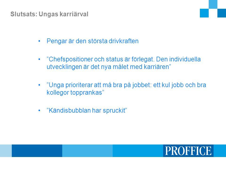 Slutsats: Ungas karriärval Pengar är den största drivkraften Chefspositioner och status är förlegat.