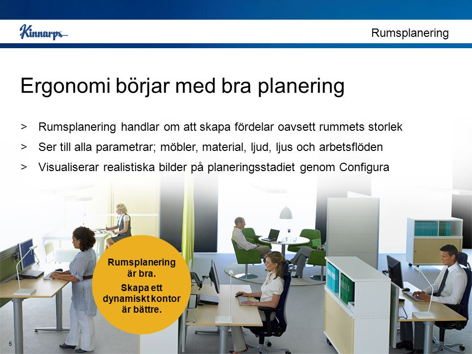 Rumsplanering Ergonomi börjar med bra planering >Rumsplanering handlar om att skapa fördelar oavsett rummets storlek >Ser till alla parametrar; möbler