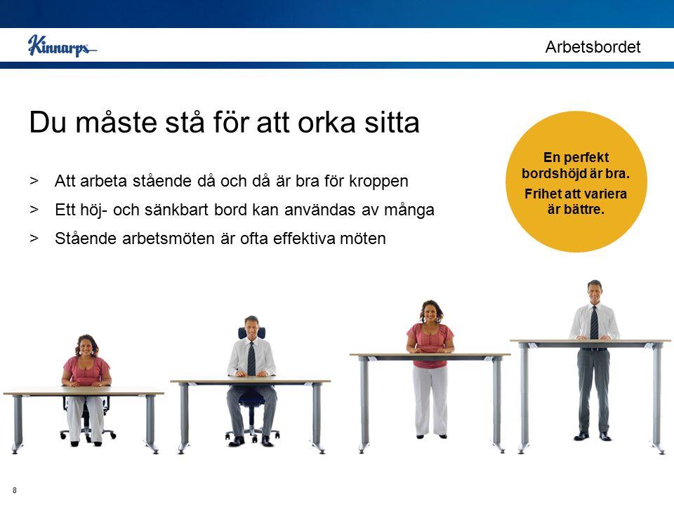 Du måste stå för att orka sitta Arbetsbordet >Att arbeta stående då och då är bra för kroppen >Ett höj- och sänkbart bord kan användas av många >Ståen