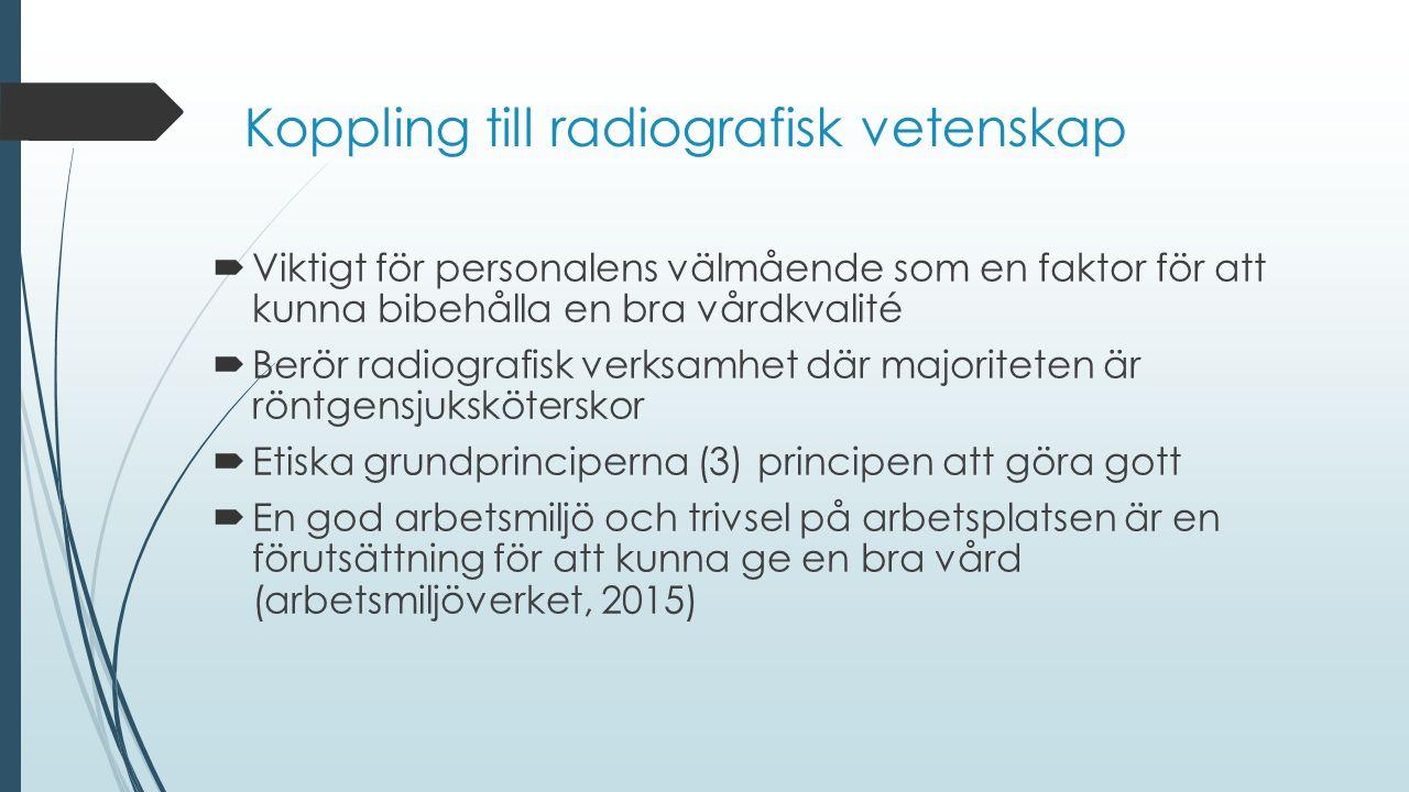 Koppling till radiografisk vetenskap  Viktigt för personalens välmående som en faktor för att kunna bibehålla en bra vårdkvalité  Berör radiografisk verksamhet där majoriteten är röntgensjuksköterskor  Etiska grundprinciperna (3) principen att göra gott  En god arbetsmiljö och trivsel på arbetsplatsen är en förutsättning för att kunna ge en bra vård (arbetsmiljöverket, 2015)