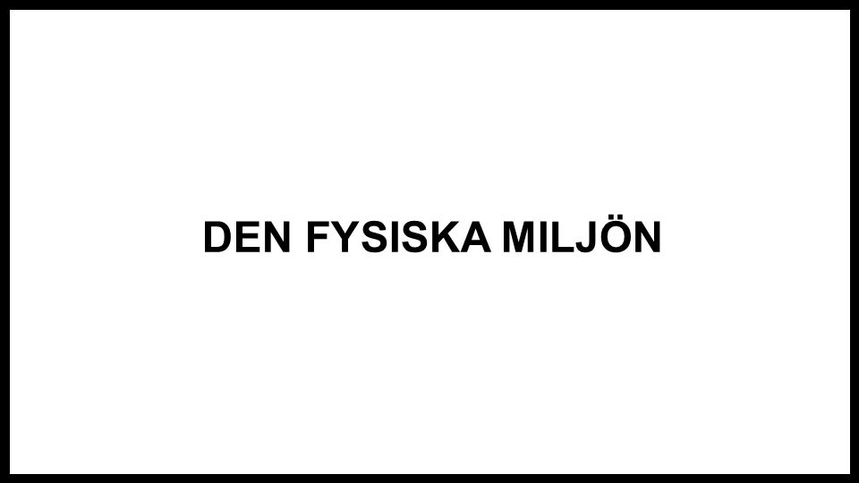 DEN FYSISKA MILJÖN