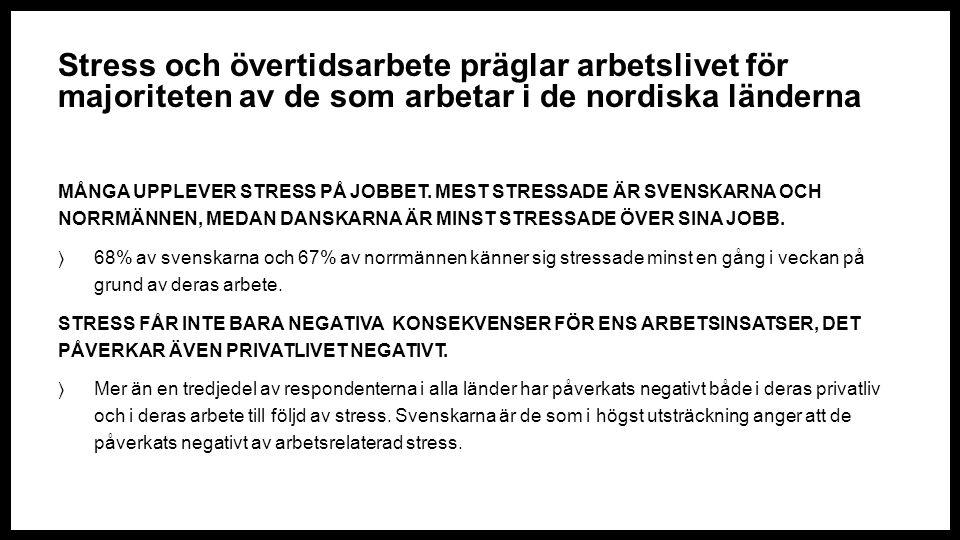 Stress och övertidsarbete präglar arbetslivet för majoriteten av de som arbetar i de nordiska länderna MÅNGA UPPLEVER STRESS PÅ JOBBET.