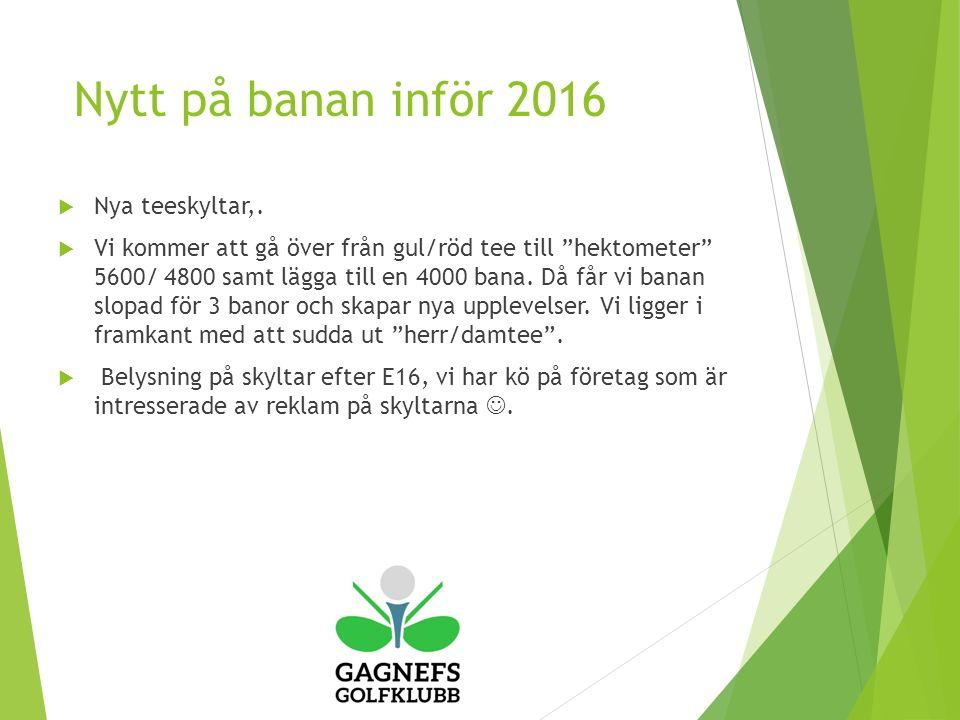 Nytt på banan inför 2016  Nya teeskyltar,.