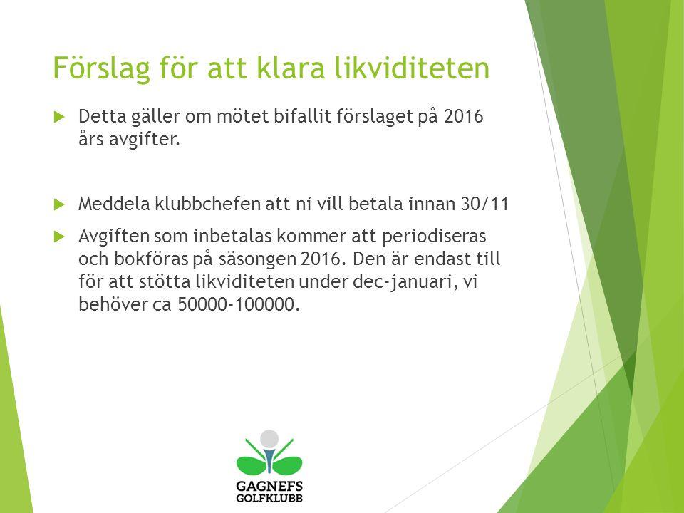 Förslag för att klara likviditeten  Detta gäller om mötet bifallit förslaget på 2016 års avgifter.
