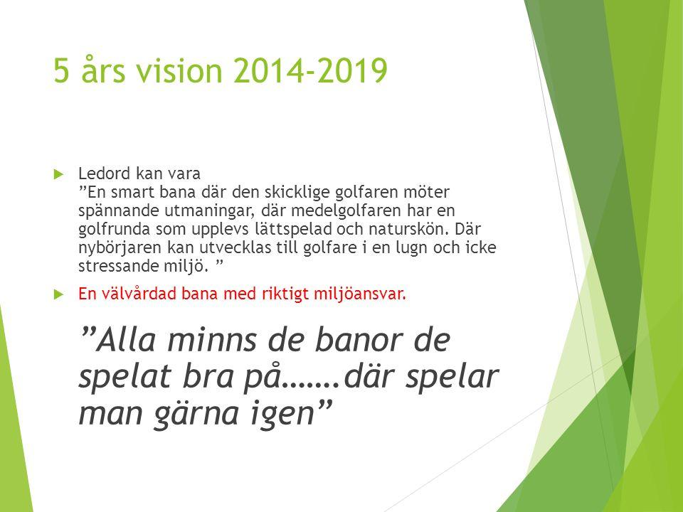 5 års vision 2014-2019  Ledord kan vara En smart bana där den skicklige golfaren möter spännande utmaningar, där medelgolfaren har en golfrunda som upplevs lättspelad och naturskön.