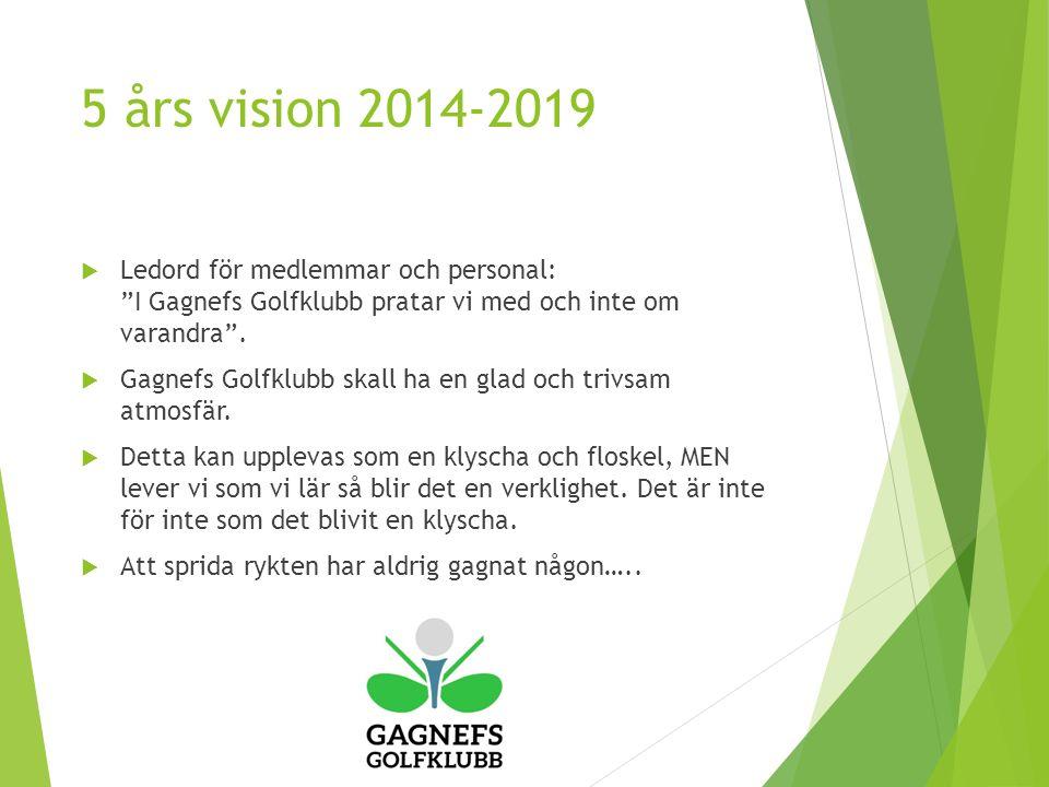 5 års vision 2014-2019  Ledord för medlemmar och personal: I Gagnefs Golfklubb pratar vi med och inte om varandra .
