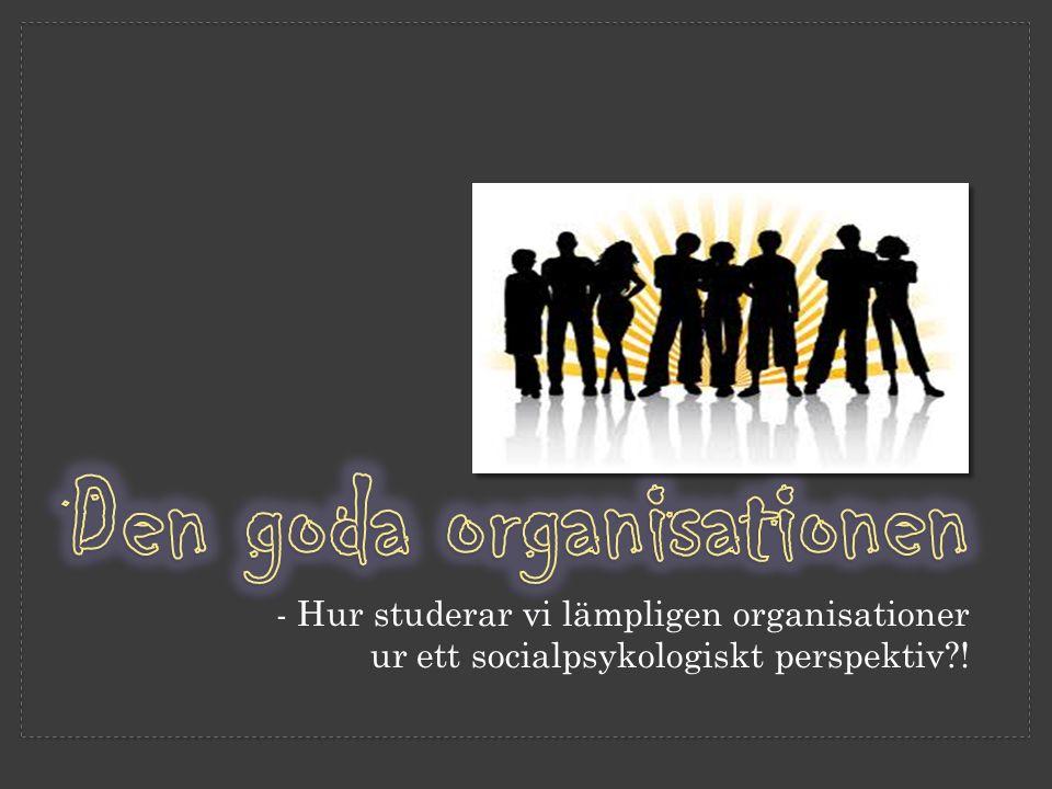 - Hur studerar vi lämpligen organisationer ur ett socialpsykologiskt perspektiv?!