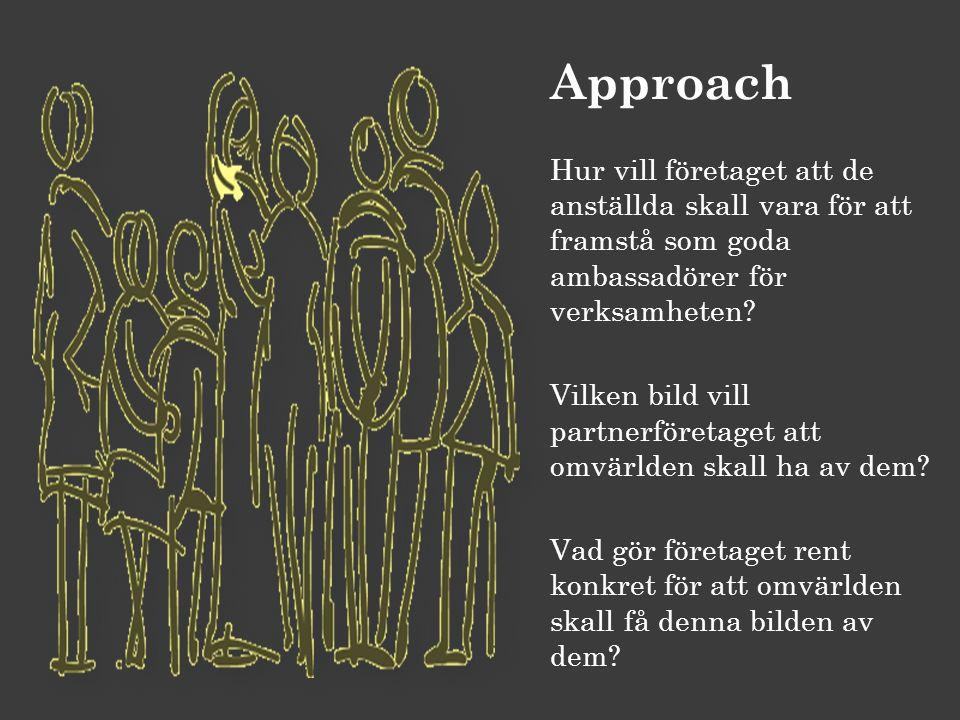 Approach Hur vill företaget att de anställda skall vara för att framstå som goda ambassadörer för verksamheten? Vilken bild vill partnerföretaget att