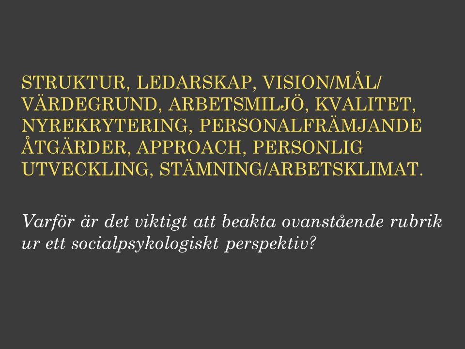 STRUKTUR, LEDARSKAP, VISION/MÅL/ VÄRDEGRUND, ARBETSMILJÖ, KVALITET, NYREKRYTERING, PERSONALFRÄMJANDE ÅTGÄRDER, APPROACH, PERSONLIG UTVECKLING, STÄMNIN